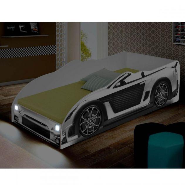 Cama Carro com Luminária em LED Solteiro Sport Divaloto Branca