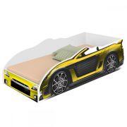 Cama Carro Infantil com Luminária de LED Juvenil Sport Divaloto Amarelo