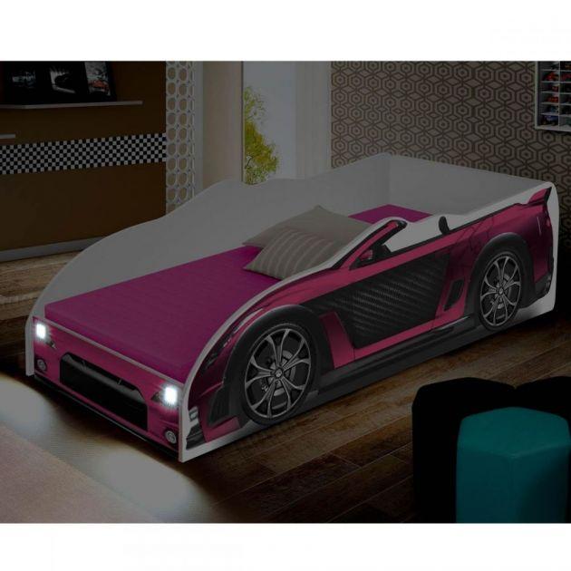 Cama Carro Infantil com Luminária de LED Juvenil Sport Divaloto Rosa