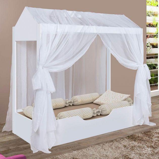 Cama Infantil Casa Montessoriana Duda Solteiro com Voal Divaloto Branco
