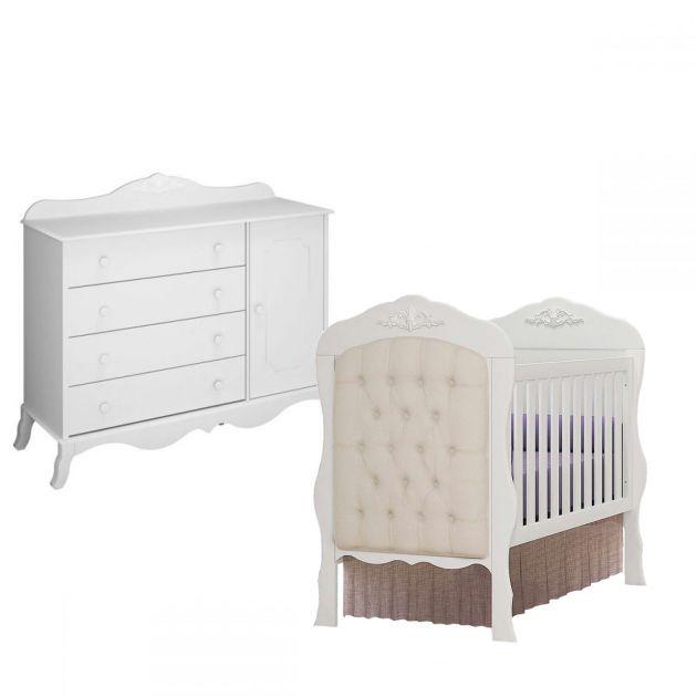 Quarto Infantil Canaã Realeza com Cômoda 1 porta e Berço Realeza Branco Fosco com 1 Captonê