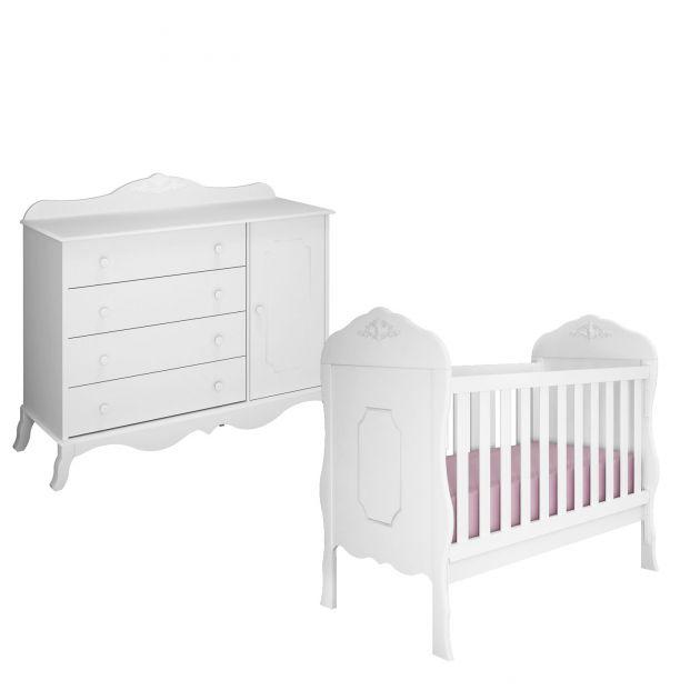 Quarto Infantil Canaã Realeza com Cômoda 1 porta e Berço Realeza Branco Fosco