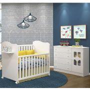 Quarto Infantil com Cômoda Cristal 4 Gavetas 1 Porta e Berço Mini Cama Munique - Moveis Canaã