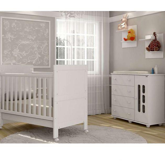 Quarto Infantil com Cômoda 4 Gavetas 1 Porta e Berço Mini Cama Doçura - Moveis Canaã