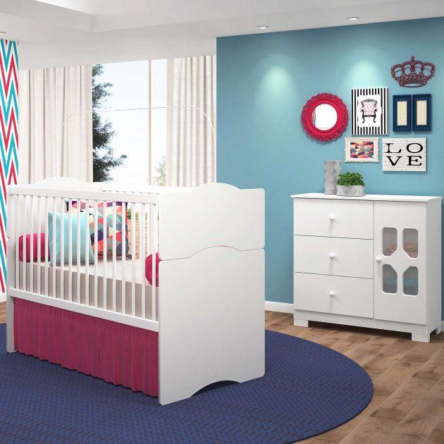 Quarto Infantil com Cômoda New Cristal 3 Gavetas 1 Porta e Berço Mini Cama Alegria - Moveis Canaã