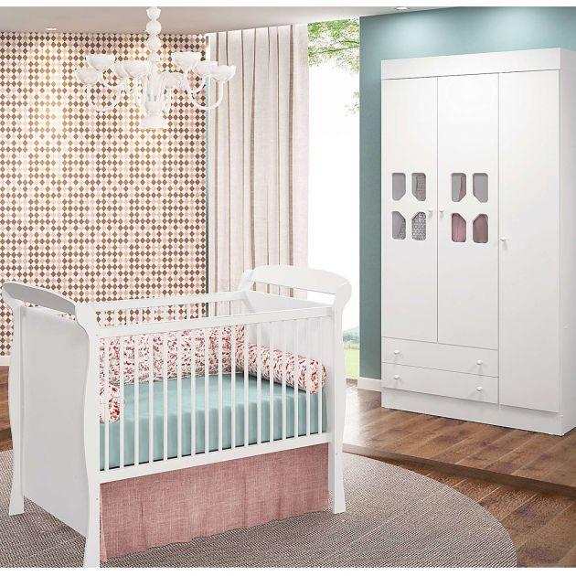 Quarto Infantil com Guarda Roupas Cristal 3 Portas e Berço Mini Cama Cristal - Moveis Canaã
