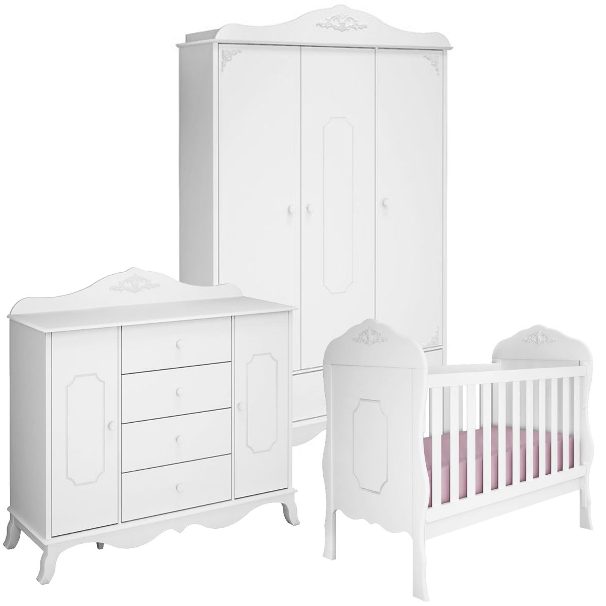 Quarto Infantil Completo Realeza Provencal 3 Portas E Berco Mini Cama
