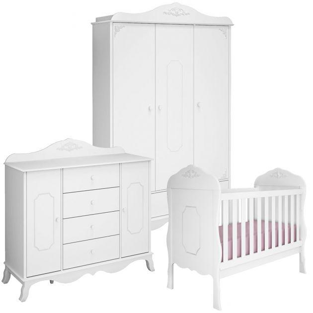Quarto Infantil Completo Realeza Provençal 3 Portas e Berço Mini Cama Realeza - Moveis Canaã