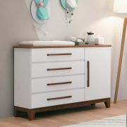 Cômoda Infantil Wood 4 Gavetas e 1 Porta Branco Acetinado/ Amêndoa Planet Baby