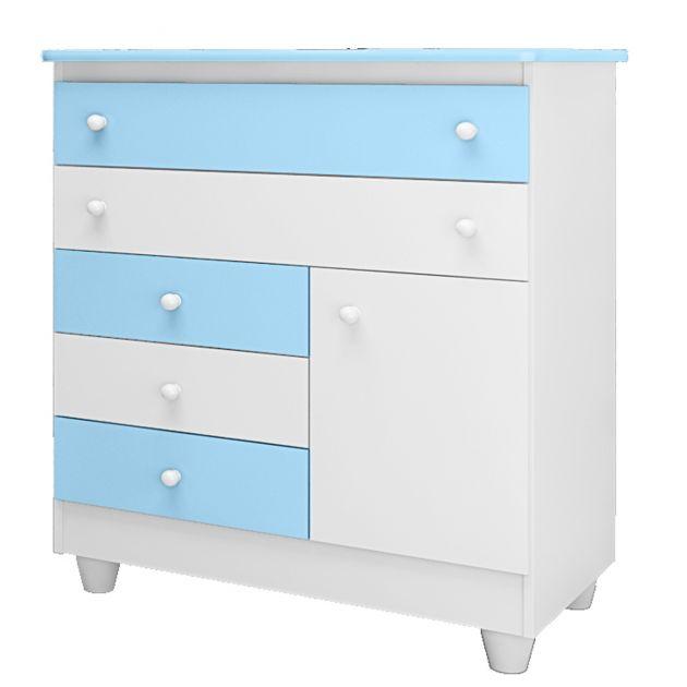 Cômoda para Quarto Infantil Adhara Branca/ Azul - Peternela