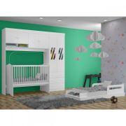 Quarto Infantil Completo com Guarda Roupas Modulado com Berço e Mini Cama Jade Branco - Moveis Canaã