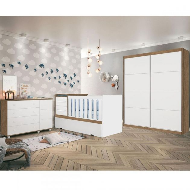 Quarto Infantil Completo Premium Branco Acetinado/ Amêndoa Planet Baby