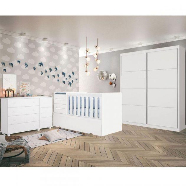 Quarto Infantil Completo Premium Branco Acetinado Planet Baby