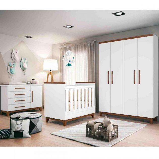 Quarto Infantil Completo Wood Planet Baby Branco Acetinado/ Amêndoa